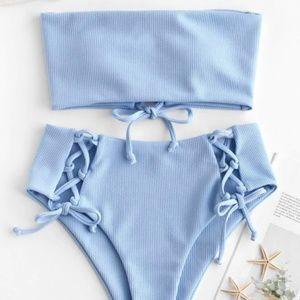 Zaful High-Waist Bandeau Bikini Blue Lace Up